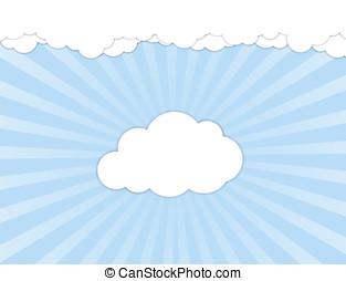 白色的云霧, 在上方, 藍色的天空