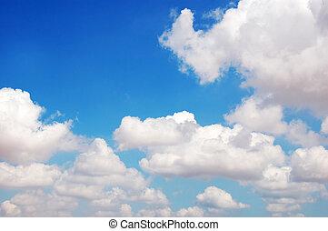 白色的云霧, 在, the, 藍色, sky.