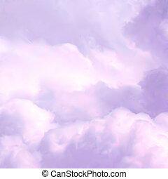 白色的天空, 以及, 粉紅色, clouds., 矢量