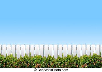 白色的柵欄, 以及, 灌木, 上, 藍色的天空