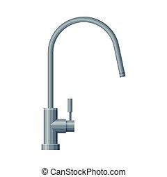 白色的水, 廚房, 插圖, 背景, 鋼, 矢量, 不鏽純潔, 水龍頭, 過濾器