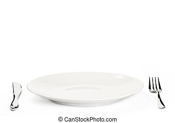 白色的盤子, 由于, 刀叉餐具, 在懷特上, 背景