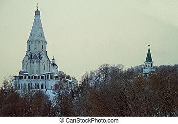 白色, 上升, 教堂, 在中, 以前, 皇家, 财产, kolomenskoye