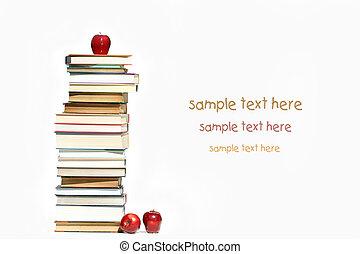 白色, 书, 堆, 苹果