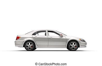 白色, 事務, 汽車, 左, 側視圖
