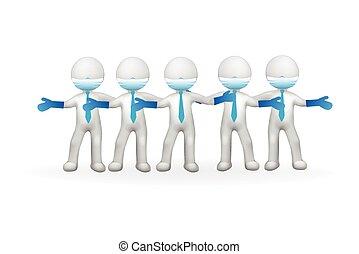 白色, 人們, 3d, 小, 隊, 健康護理
