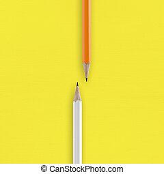 白色, 以及, 橙, 鉛筆, 上, 黃色的背景