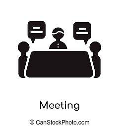白色, 会议, 隔离, 背景, 图标