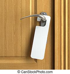 白色, 卡片, 由于, 模仿空間, 上, 門把手