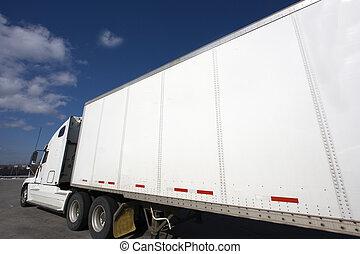 白色, 卡車, 半