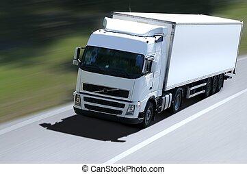白色, 卡車, 路