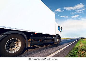 白色, 卡車, 路, 瀝青