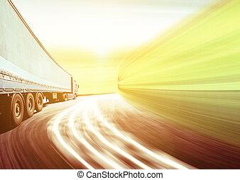 白色, 卡車, 高速公路