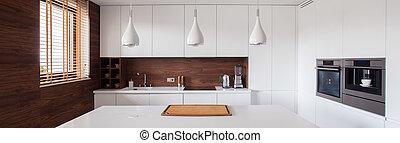 白色, 同时,, 布朗, 厨房, 内部