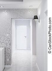 白色, 同时,, 银, 走廊