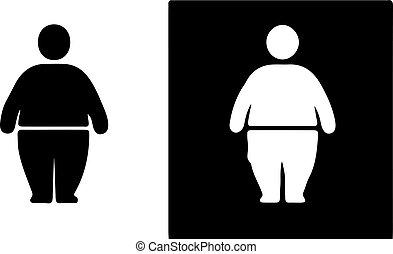 白色, 图标, 背景, 脂肪, 人们