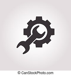 白色, 图标, 齿轮, 背景, wrench