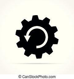 白色, 图标, arrrow, 背景, 齿轮