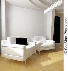 白色, 图, 房间