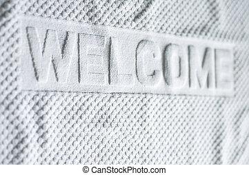 白色, 地毯, 蓆子, 歡迎