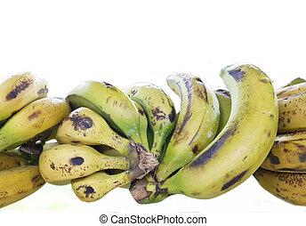 白色, 堆, 隔离, 背景, 香蕉