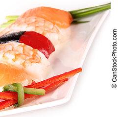 白色, 壽司, 背景, 片斷
