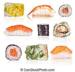 白色, 壽司, 背景, 被隔离, 彙整