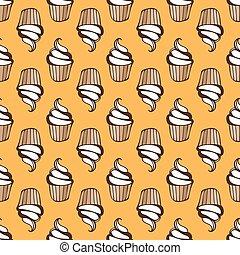 白色, 奶油, cupcake, seamless, 黃色, 圖案