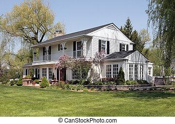 白色, 家, 由于, 第二, 地板, 陽台