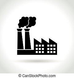 白色, 工厂, 背景, 图标