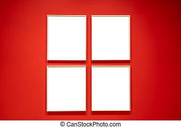 白色, 廣場, 四, 紅色, mockup, 牆