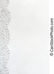 白色, 微妙, 緞子, 背景, 由于, 帶子, border.