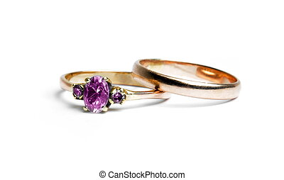 白色, 戒指, 二, 婚禮