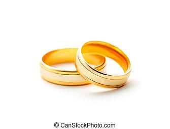 白色, 戒指, 被隔离, 背景, 婚禮