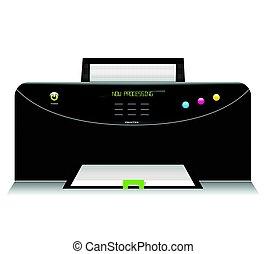 白色, 打印机, 背景, 图标