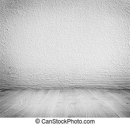 白色, 最簡單派藝術家, 膏藥, 具体的牆, 背景, 以及, 白色, 木制, floor.