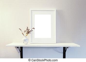 白色, 框架, 空, mockup