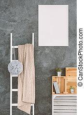 白色, 梯子, 在一房间中