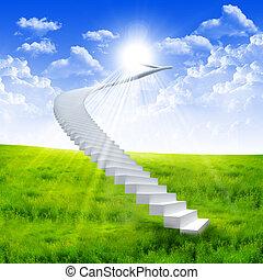 白色, 梯子, 延伸, 到, a, 明亮的天空