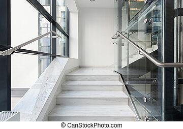 白色, 楼梯, 在中, 商业, 建筑物