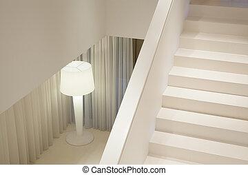 白色, 楼梯, 在中, 奢侈, 公寓