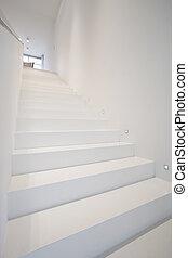 白色, 楼梯, 在中, 现代, 房子