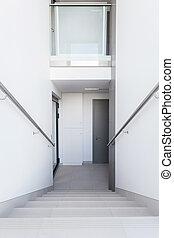 白色, 楼梯, 在中, a, 建筑物