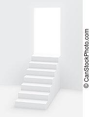 白色, 樓梯, 打開, 門