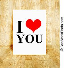 白色, 海报, 带, 我爱你, 词汇, 在中, 树木, 镶木地板, 房间, valentine, 概念