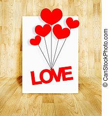 白色, 海报, 带, 爱, 词汇, 同时,, 心, balloon, 在中, 树木, 镶木地板, 房间, valentine, 概念
