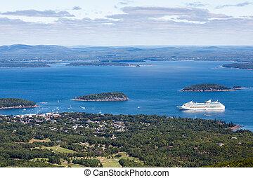 白色, 游覽班船, 在, 藍色, 海灣, 在, 緬因