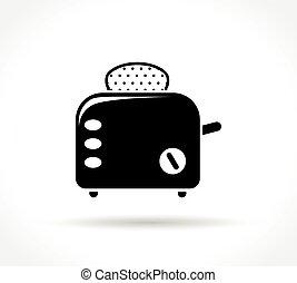 白色, 烤面包炉, 背景, 图标