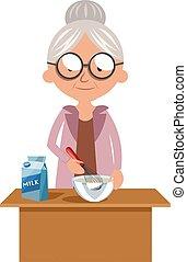 白色, 烹调, 描述, 祖母, 矢量, 背景。