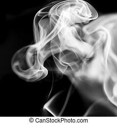 白色, 煙, 上, 黑色的背景